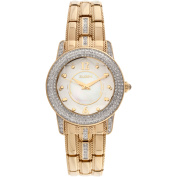 Elgin Women's Gold-Tone White Mother of Pearl and Sunray Dial Round Crystal Accented Bracelet Watch