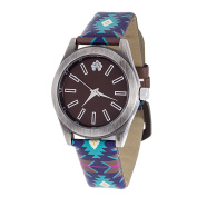 Xtreme WallFlower Slim Women's Collection with Blue Geo Leather Strap Cubic Zirconia Watch