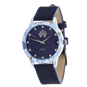 Xtreme WallFlower Slim Women's Collection Flower Ring Case with Blue Jeans Strap Watch