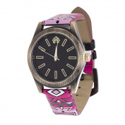 Xtreme WallFlower Slim Women's Collection with Pink Geo Leather Strap Cubic Zirconia Watch