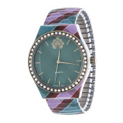 Xtreme WallFlower Stretch Women's Collection with balck Zig Zag Alloy Strap Cubic Zirconia Watch