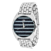 Xtreme Fortune NYC Ladies Silvertone Case/ Blue Stripes Fabric Dial with Silver Strap Watch