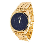 Xtreme Fortune NYC Ladies Goldtone Case/ Blue Fabric Dial with Gold Strap Watch