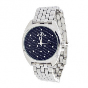 Xtreme Fortune NYC Ladies Silvertone Case/ Blue CZ Fabric Dial with Silver Strap Watch