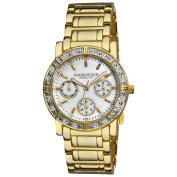 Akribos XXIV Women's Goldtone Crystal Multifunction Bracelet Watch with FREE GIFT