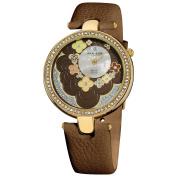 Akribos XXIV Women's Swiss Quartz Leather Brown Strap Flower Dial Watch with FREE GIFT - Green/Multi/Silver