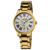 Akribos XXIV Women's Goldtone Stainless Steel Diamond Bracelet Watch with FREE GIFT - Black/Silver