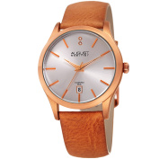 August Steiner Women's Diamond Date Sleek Rose-Tone Leather Strap Watch with FREE GIFT