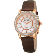 August Steiner Women's Diamond Crystal Rose-Tone/ Brown Leather Bracelet Watch with FREE GIFT
