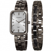 Akribos XXIV Women's Quartz Diamond Rectangular Gun Watch + Jewellery Bracelet with FREE GIFT
