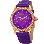 August Steiner Women's Crystal Elements Multifunction Leather Rose-Tone/Purple Strap Watch with FREE GIFT