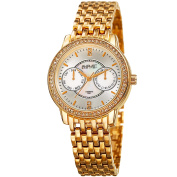 August Steiner Women's Quartz Multifunction Diamond Gold-Tone Bracelet Watch with FREE GIFT