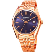 August Steiner Women's Date Sunray Stainless Steel Rose-Tone/Blue Link Bracelet Watch with FREE GIFT