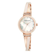 Anne Klein 2216BLRG Women's MOP Dial Pink and Rose Gold Steel Bangle Bracelet Crystal Watch