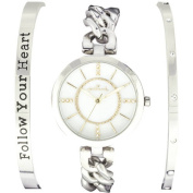 """Connexions from Hallmark Women's """"Follow Your Heart"""" Stainless Steel Watch and Bracelet Set"""