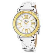 Fendi Women's F8011345H0.SS04 'Selleria' Mother of Pearl Dial White Leather Strap Swiss Quartz Watch