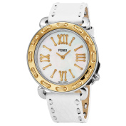 Fendi Women's F8001345H0.SSN0 'Selleria' Mother of Pearl Dial White Leather Strap Swiss Quartz Watch