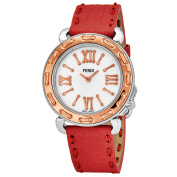 Fendi Women's F8002345H0.SSNB 'Selleria' Mother of Pearl Dial Red Leather Strap Swiss Quartz Watch