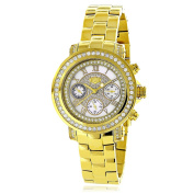 Luxurman Women'S Montana Yellow Gold-Plated Diamond Accent White Watch With Metal Band And Extra Lea