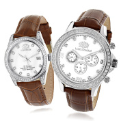 LUXURMAN Matching His and Hers Watches White MOP Gold Plated Diamond Watches