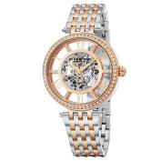 Stuhrling Original Women's Automatic Skeleton Delphi Element Crystal Two-Tone Link Bracelet Watch