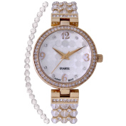 Croton Ladies CN207563YLCR Stainless Steel Clear Element Bead Watch with Austrian Crystal and Coo