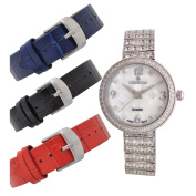 Croton Ladies Silvertone Set CZ Watch Set with Interchangeable Leather strap - CN207555RHMP