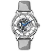 Stuhrling Original Women's Automatic Skeleton Grey Leather Strap Watch