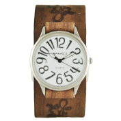 Nemesis White/Black Always Summer Watch with Faded Light Brown Embossed Flower Design Leather Cuff Band