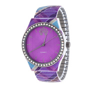 Xtreme WallFlower Strech Women's Collection with Purple Zig Zag Alloy Strap Cubic Zirconia Watch