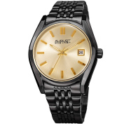 August Steiner Women's Date Sunray Stainless Steel Black Link Bracelet Watch with FREE GIFT