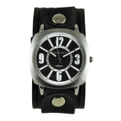 Nemesis Black/White 'Comely' Unisex Watch with Vintage Black Embossed Stripes Leather Cuff Band
