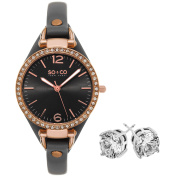 SO & CO New York Women's Crystal Grey Brass/ Leather with Crystal Stud Earings Mothers Day Gift Watch Set