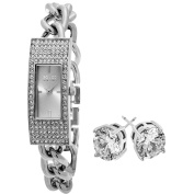 SO & CO New York Women's Stainless Steel with Crystal Stud Earrings Mothers Day Gift Watch Set
