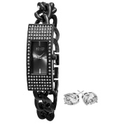 SO & CO New York Women's Black Bracelet with Crystal Stud Earrings Mothers Day Gift Watch Set