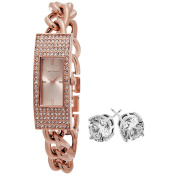 SO & CO New York Women's Rose-tone Bracelet with Crystal Stud Earrings Mothers Day Gift Watch Set