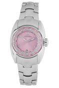 Chronotech Women's CT.7704BS/18M Crystals Pink Dial Stainless Steel Date Watch