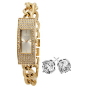 SO & CO New York Women's Crystal Goldtone with Crystal Stud Earrings Mothers Day Gift Watch Set
