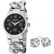 SO & CO New York Stainless Steel Women's with Crystal Stud Earrings Gift Mothers Day Gift Watch Set