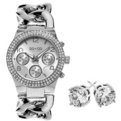 SO & CO New York Gift with Purchase Women's Crystal Stainless Steel Watch with Crystal Stud Earings