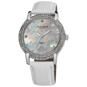 Akribos XXIV Women's Flower Diamond Accent Watch with White Silver-Tone Strap with FREE GIFT