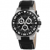 Akribos XXIV Women's Swiss Chronograph Sports Leather Black Strap Watch with FREE GIFT
