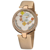 Akribos XXIV Women's Flower Dial Leather Rose-Tone Strap Watch with FREE GIFT