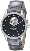 Raymond Weil Women's 2750-SLS-20081 Freelancer Diamond-Accented Stainless Steel Automatic Watch with Grey Leather Band