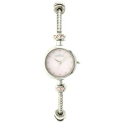 Connexions from Hallmark Women's Stainless Steel Charm Bracelet Watch with Pink MOP Dial