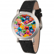 Sesame Street, Group Pattern Women's Silver Vintage Alloy Watch, Black Sequin Strap