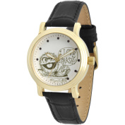 Sesame Street, Oscar the Grouch Women's Gold Vintage Alloy Watch, Black Leather Strap