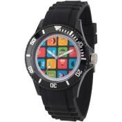 Sesame Street, Group Pattern Black Plastic Watch, Black Plastic Strap