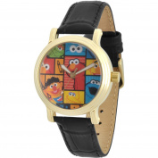 Sesame Street, Cookie Monster, Elmo, Oscar the Grouch, Grover, Big Bird, Bert and Ernie Women's Gold Vintage Alloy Watch, Black Leather Strap