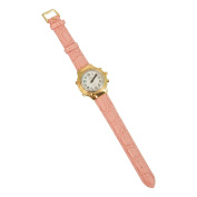 Pink Leather Band for Ladies Talking Watch-Gold-Tone Buckle